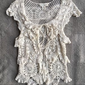 Flying Tomato Soft Cotton Crochet Duster Vest
